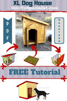 This step by step woodworking project is about extra large dog house plans free. If you have a large dog and you want to build an appropriate outdoor shelter for it, then you should check out my free plans. Xl Dog House, Double Dog House, Large Dog House Plans, Extra Large Dog House, Small Dog House, Build A Dog House, Large Dogs, Outdoor Shelters, Outdoor Dog