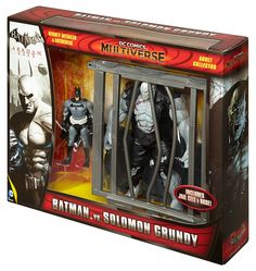 "BRAND NEW MINT CONDITION FACTORY SEALED ORIGINAL!!!    SAME DAY SHIPPING AND 3 DAYS DELIVERY FOR ALL USA CUSTOMERS!!!!         Expanding the DC Comics Multiverse, come these popular characters from the Arkham City video games    Highly articulated, highly detailed, authentic 4"" Batman in Year 1 Skin is paired with giant oversized Solomon Grundy    Undead DC Super-Villain Grundy features electrified flesh and clothes and Batman wears his iconic black and grey Batsuit Skin from Year One…"