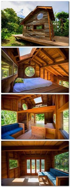 Tiny House And Small Space Living | I Just Love Tiny Houses! by milagros Tiny House Living, Tiny House Loft, Small Tiny House, Small Log Homes, Small Houses, Shed Loft, Tiny Cabin Plans, Tiny Cabins, Log Cabins