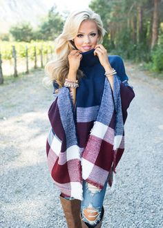 If I Could Fly Plaid Poncho Navy