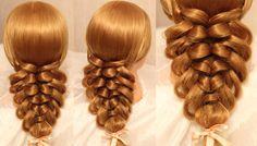 Коса с помощью резинок - 2