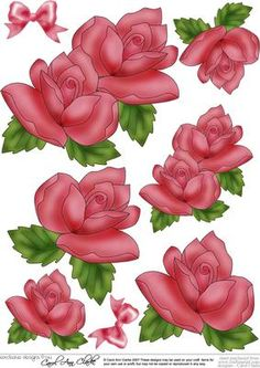 """Just Roses 3D Decoupage sheet on Craftsuprint designed by Carol Clarke - Gorgeous Roses and a satin ribbon bow 3d step by step decoupage which is sized to perfectly match my 8"""" x 8"""" Just Roses Toppers. This design can be used on it's own or together with the matching Topper to make stunning cards and pictures.This design is great for female birthday cards but is also suitable for lots of occasions including Mothers Day cards, Wedding Cards, Engagement Cards, Anniversary card, Mothers Day ..."""