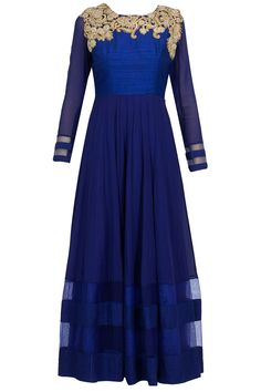 Oxford blue embroidered kurta set available only at Pernia's Pop-Up Shop.