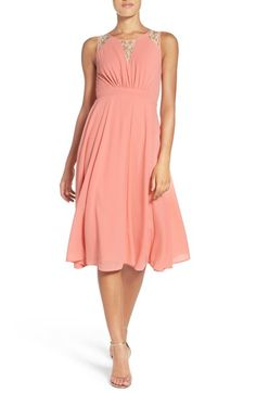 NSR Lace Inset Chiffon Midi Dress available at #Nordstrom  love the color