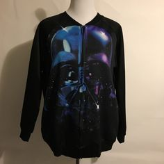 NWOT Star Wars zip up jacket. Star Wars lightweight jacket with pockets and front zipper. 98% polyester, 4% spandex.  Bought new but it didn't fit. It says 2x but this fits like a Large or XL. This is a thin jacket and very lightweight. Unisex. Mighty Fine Jackets & Coats