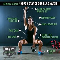 Form at a Glance: Horse Stance Gorilla Snatch #workout #kettlebell