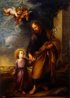 St Joseph Leading the Christ Child Painting by Murillo Bartolome Esteban | Oil Painting