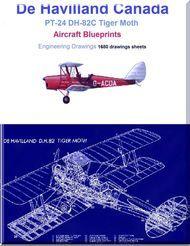 De Havilland PT-24 DH-82C Tiger Moth Aircraft Blueprints - Download