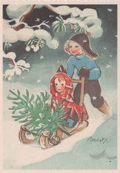 Martta Wendelinin joulukortit Christmas Tale, Swedish Christmas, Scandinavian Christmas, Vintage Christmas Cards, Retro Christmas, Vintage Holiday, Christmas Greetings, Christmas Illustration Design, Vintage Book Art