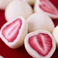 A healthier snack for Valentine's day - only 2 ingredients: strawberries and greek yogurt!