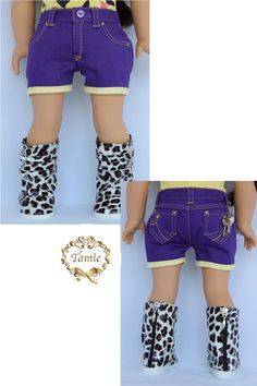 American girl doll clothes Short jeans with a key by PurpleRoseNY