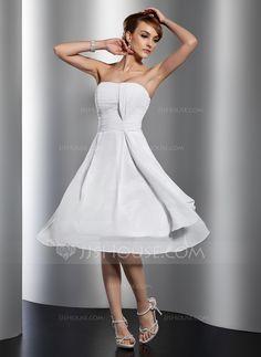 Forme Princesse Bustier en coeur Mi-longues Mousseline Robe de soirée étudiante avec Plissé (022014808)