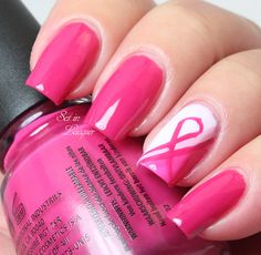 Breast Cancer Awareness Nail Art using China Glaze Celebrate Courage Collection