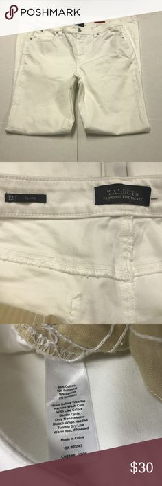 Talbots Flawless Five Pocket Flare 12 Slimming NEW Talbots Flawless Five Pocket White Flare Jeans Womens Sz 12 34x32.5 Slimming NWT  APPROXIMATE MEASUREMENTS LAYING FLAT IN INCHES:  waist:17 hips:20 rise:10.5 inseam:32.5 the hems are dirty from rubbing dragging ,they have not been cleaned as the pants are new Talbots Jeans Flare & Wide Leg