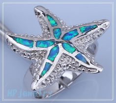 Blue Fire Opal Starfish Ring