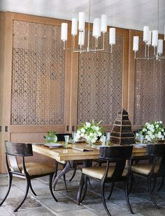OMG....laser cut wood inset and klismos chairs   THOMAS HAMEL ~ INTERIOR DESIGN