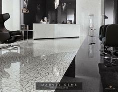 Marble Terrazzo-inspired flooring for interior and hospitality design. by Atlas concorde. Marvel Gems, Ethnic Decor, Italian Tiles, Terrazzo Flooring, Lobby Design, Floor Decor, Upholstered Furniture, Apartment Interior, Carrara