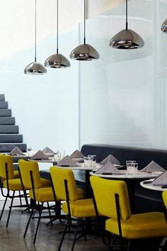 Perfect presentation - a Void Light hangs above each table to provide a soft beam of light.