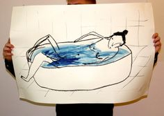 Lady in Bath. Original Giant Illustration. Oil stick and Gouache.