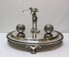 victorian ELKINGTON SILVER PLATE Golf Trophy Golfer INKSTAND Inkwell Gutty Ball #Elkington