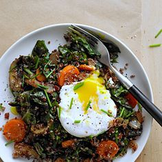 Red Quinoa Bowl with Swiss Chard and Poached Egg | Sunset
