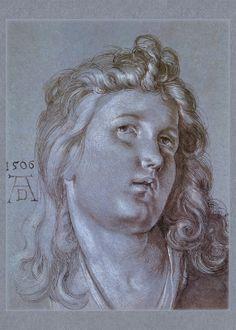 Albrecht Dürer ~ Head of an Angel, 1506 (brush drawing on blue Venetian paper) Renaissance Kunst, Die Renaissance, Figure Drawing, Painting & Drawing, Brush Drawing, Angel Drawing, Albrecht Dürer, Jan Van Eyck, Italian Artist