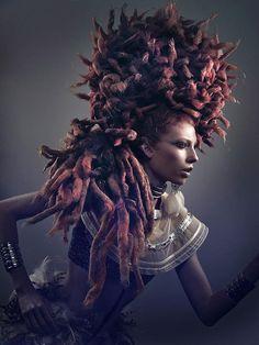 Cool portrait / make-up photography by Valencia, Spain - based David Arnal. Crazy Hair, Big Hair, Creative Hairstyles, Cool Hairstyles, Sara Beauty, The Lovely Bones, Avant Garde Hair, Hair Locks, Photo Work