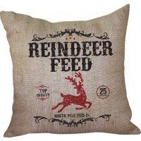 Reindeer Feed Burlap Pillow