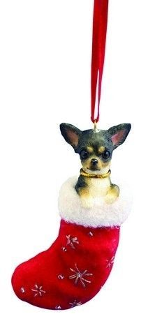 New in Box Santa's Little Pals Ornament Chihuahua Black and White