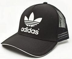 ADIDAS-ADICOLOR-TRUCKER-CAP-Black-White-snapback-trefoil-logo-hip-hop-hat-NEW