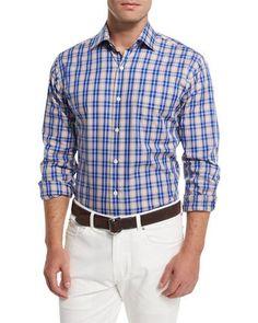 Prince Plaid Long-Sleeve Sport Shirt, Navy