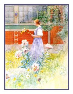 Lisbeth and Peonies by Swedish Artist Carl Larsson Counted Cross Stitch or Counted Needlepoint Pattern