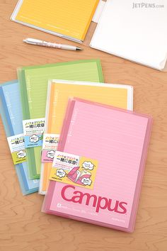 Go back to school with Kokuyo Campus Notebooks. The new Covered Notebook has helpful pockets for loose paper.