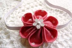 Romantic pink hearts kanzashi flower headband with by ImwtheBand