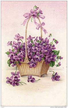(via Old books, cards, prints♥ / Vintage violets postcard)
