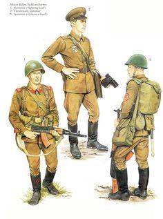 1980s Soviet Army summer field uniforms.