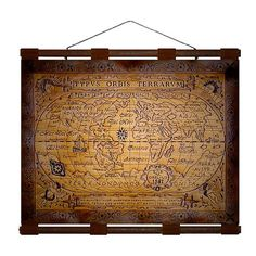 ANTIQUE WORLD 1587 Map Hand Burned Leather by leathertravelart, $69.90