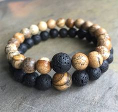 Couples Bracelets Missing Link are meant to be worn by 2 people in a relationship, it could be romantic relationship or parents-children, or friendship relationship. Set of 2 bracelets made from high quality natural Picture Jasper and Volcanic Lava Rock Round 8mm and 10mm Diameter