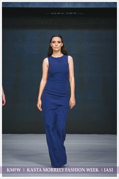 Navy long dress with unique model made of pin tucks. More details at muzacreationfactory@yahoo.com.