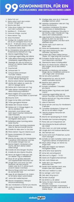 99 Gewohnheiten, für ein besseres und erfolgreicheres Leben - einfachtäglich.de Positive Living, Positive Vibes, Mental Health Journal, Learn English Words, Mind Tricks, Anti Stress, Life Advice, Faith Quotes, Self Development