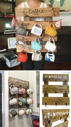Pallet Coffee Cup Organizer. Top 23 Cool DIY Kitchen Pallets Ideas You Should Not Miss
