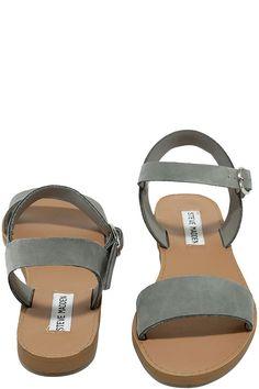 d287477950989e Steve Madden Donddi Blue Grey Nubuck Leather Flat Sandals