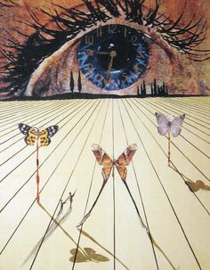The Eye of Surrealist Time by Salvador Dalí, 1971. Lithograph with etching on arches, 29 ¾ × 20 ½. DTR Modern Galleries, on display in Boston, MA: 2014-10-10 through 2014-11-28.  The most confusing element is the shadows cast by the butterflies as well as the man and the boy. But, if you cross your eyes, the man and the boy become two butterflies, flying upward and two the right. Or, perhaps, just one butterfly moving through time.