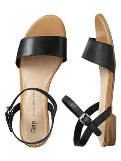 Gap Leather Sandals - true black
