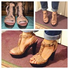 """Shoemint """"Sarah Raffia"""" Platform Sandals Super adorable T-strap platform sandals --Shoemint """"Sarah Raffia"""" - woven brown straps & wooden heels (5 3/4 in height, 1 1/4 in platform).  Size 8.5 platform heels in great condition - only worn once. Shoemint Shoes Sandals"""