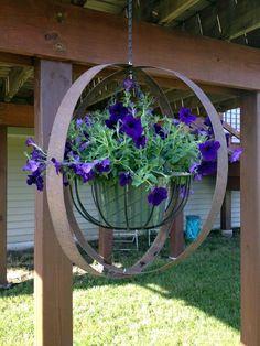 Wine barrel rings and hanging plant Wine Barrel Crafts, Wine Barrel Rings, Wine Barrels, Wine Barrel Planter, Metal Yard Art, Metal Art, Rusted Metal, Garden Junk, Garden Art