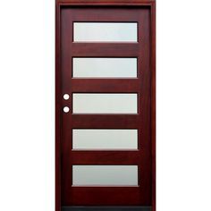 Pacific Entries 36 in. x 80 in. Contemporary 5 Lite Mist Lite Stained Mahogany Wood Prehung Front Door with 6 Wall Series, Medium Red Mahogany