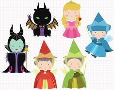 WHAT YOU ARE PURCHASING:  You will receive SIX adorable clip arts (in separate images) featuring characters from Sleeping Beauty: Sleeping Beauty,