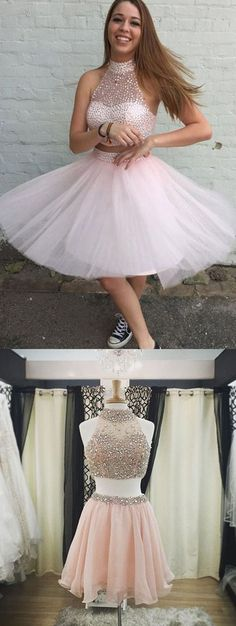 Two-Piece Pink Homecoming Dress, Modern Short Prom Dress with Beading, Fashion Party Dress for teens