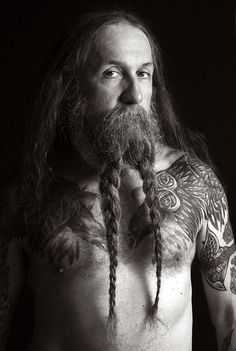 beard pigtails - beardtails ?? braids braided beards bearded man men full thick natural length long hair tattoos tattooed